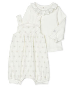Completo 2 pezzi bebè femmina bianco Marshmallow / beige Perlin