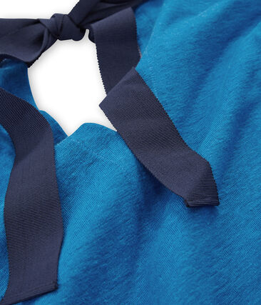 Abito maniche corte donna in lino blu Riyadh