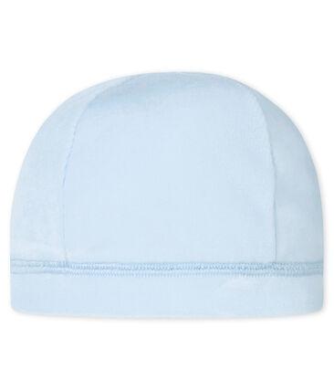 Cappellino nascita in ciniglia per bebé unisex blu Fraicheur