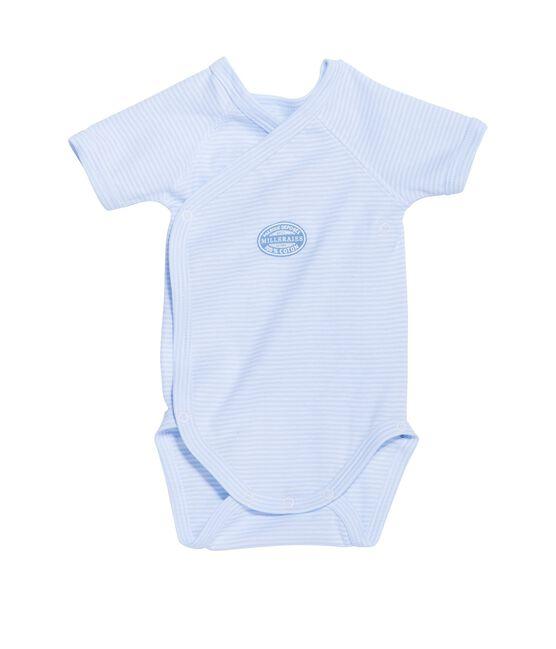 Body nascita bambino maniche corte millerighe blu Fraicheur / bianco Ecume