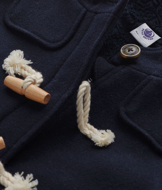 Montgomery per bambino in lana foderato blu Smoking