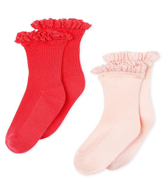 Confezione da 2 paia di calzini in pizzo bebè femmina rosa Groseiller