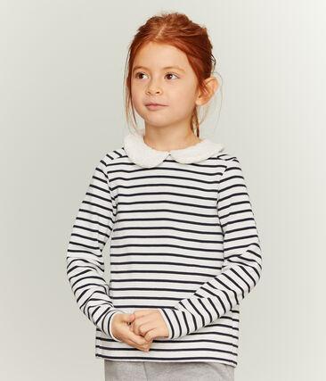 Marinière a manica lunga bambina bianco Marshmallow / blu Smoking