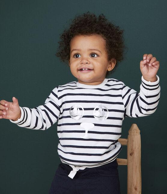 Felpa bebè femmina in molleton bianco Marshmallow / blu Smoking