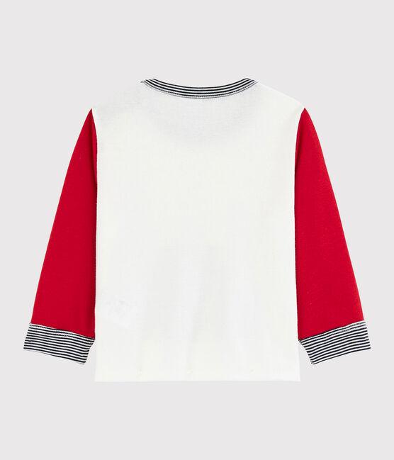 T-shirt colorblock bebè maschio bianco Marshmallow / rosso Terkuit