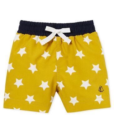 Short da spiaggia fantasia neonato giallo Bamboo / bianco Marshmallow