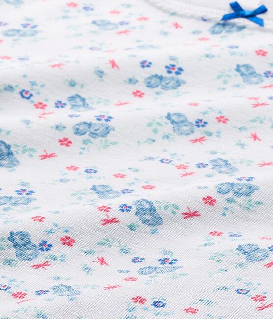 T-shirt bambina con stampa bianco Ecume / blu Bleu