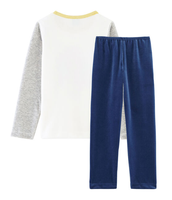 Pigiama bambino in ciniglia blu Medieval / grigio Poussiere