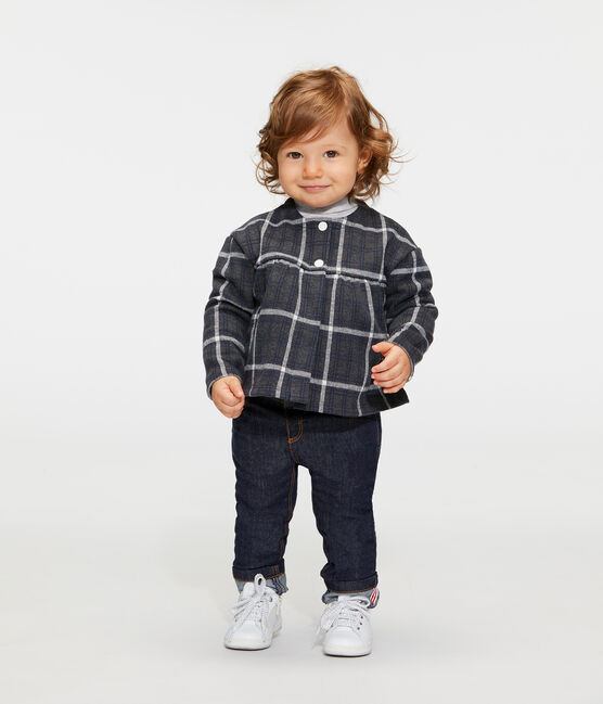 Cardigan a scacchi bebè femmina nero City / bianco Multico