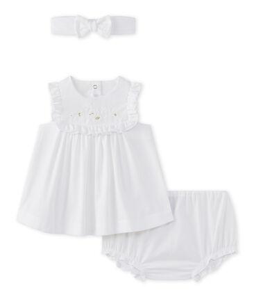Coordinato 3 pezzi in popeline per bebé femmina bianco Ecume