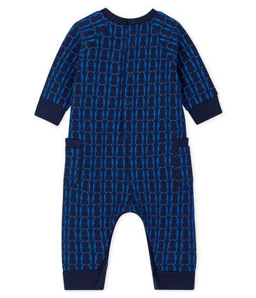 Tutina lunga da bebè maschio in molleton blu Smoking / bianco Multico