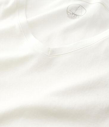 T-shirt a costine leggera donna bianco Marshmallow