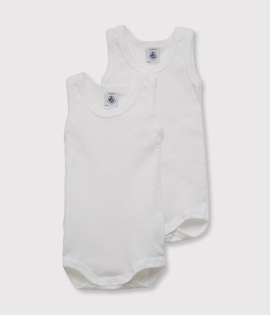 Confezione da 2 body bianchi senza maniche bebè lotto .