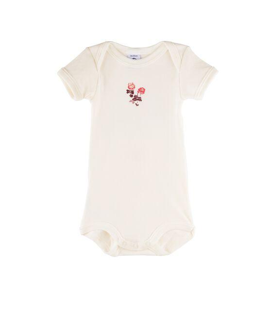 Body manica corta bebè bambina bianco Marshmallow / rosa Flashy