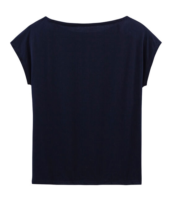 T-shirt manica corta in cotone Sea Island donna blu Marine