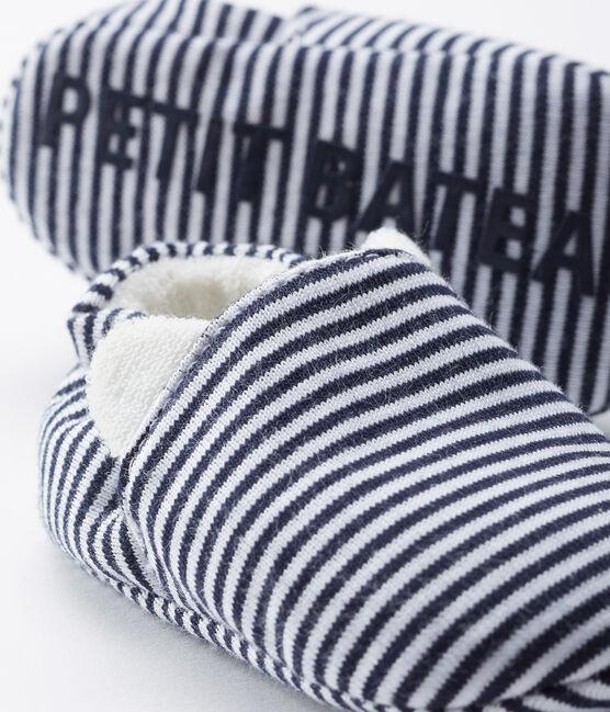 Scarpine bebé femmina a costine blu Medieval / bianco Marshmallow