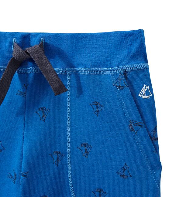 Bermuda bambino in jersey pesante stampato blu Perse / blu Smoking