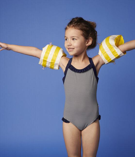Costume intero bambina blu Abysse / bianco Lait