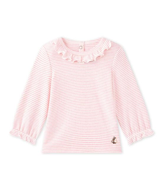 T-shirt bebé bambina rigata bianco Marshmallow / rosa Petal