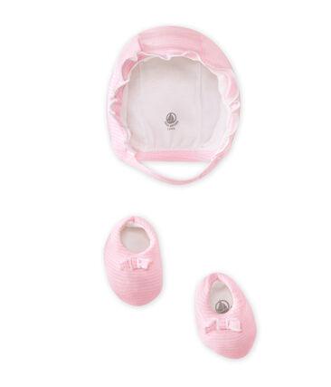 Coordinato cappellino e scarpine per bebé femmina