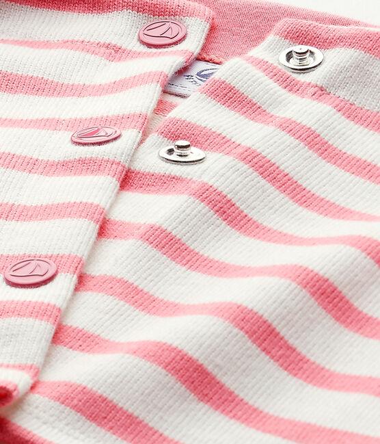 Cardigan bebé bambina rigato bianco Marshmallow / rosa Petal