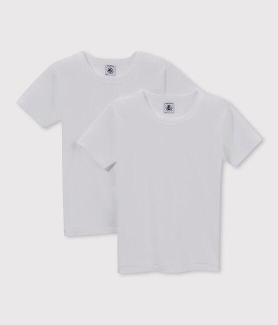 Confezione da 2 t-shirt manica corta bianche bambino lotto .