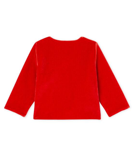 Cardigan bebè femmina in maglia di velluto rosso Terkuit