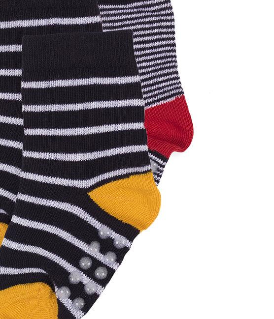 Confezione da 2 paia di calzini bebè maschio bianco Marshmallow / blu Smoking