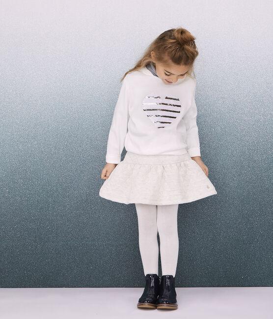T-shirt con cappuccio bambina bianco Marshmallow