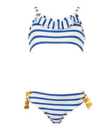 Costume da bagno bambina 2 pezzi bianco Marshmallow / blu Perse