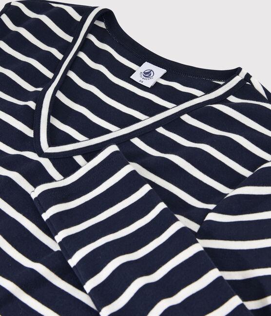 T-shirt iconica scollo a V donna blu Smoking / bianco Marshmallow