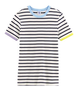 T-shirt iconica donna bianco Marshmallow / blu Smoking