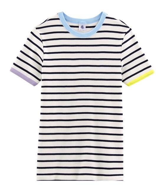 T-shirt iconica donna bianco Marshmallow / blu Smoking