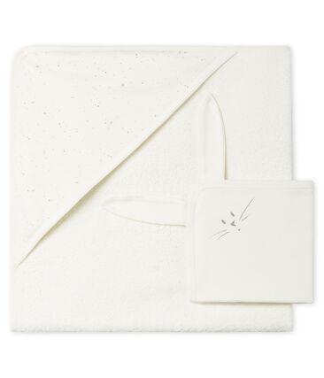 Cofanetto asciugamano quadrato da bagno e doudou bebè in BE e tubique
