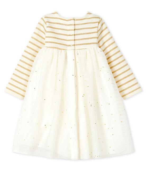 Abito bi-materiale a maniche lunghe bebè femmina beige Coquille / giallo Lurex Dore