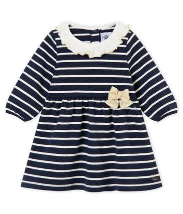 Abito rigato per bebé femmina blu Smoking / bianco Marshmallow