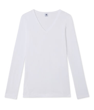 T-shirt manica lunga iconica donna bianco Ecume