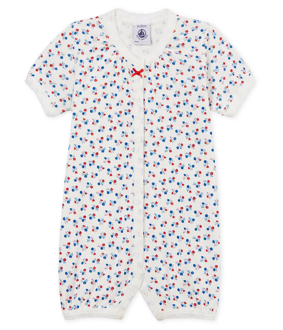 Tutina corta bebè bambina a costine bianco Marshmallow / bianco Multico