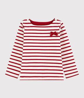 Marinière in jersey bambina bianco Marshmallow / rosso Terkuit