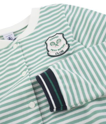 Cardigan bambina verde Aloevera / bianco Marshmallow