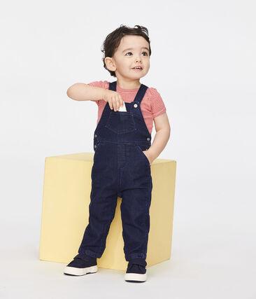 Salopette lunga effetto denim bebè unisex blu Jean