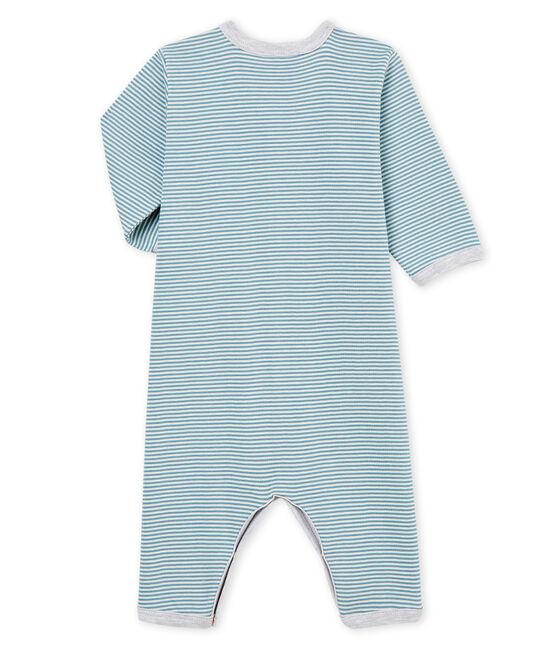 Tutina pigiama senza piedi bambino a costine blu Fontaine / bianco Marshmallow