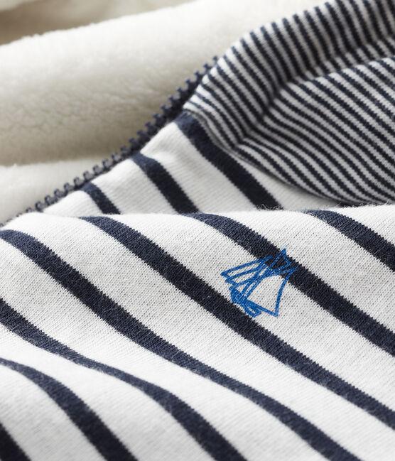Felpa con cappuccio bebè maschio a righe marinare doppiata in lana sherpa bianco Marshmallow / blu Smoking