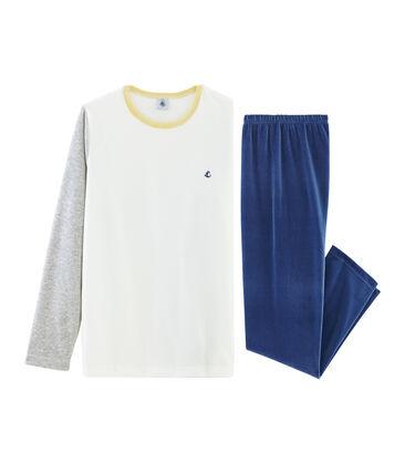 Pigiama ragazzo in ciniglia blu Medieval / grigio Poussiere
