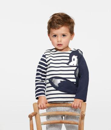 Marinière bebè maschio rivisitata beige Coquille / blu Smoking