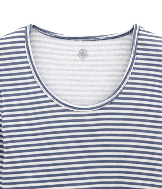 body donna maniche lunghe in lana e cotone blu Turquin / bianco Marshmallow