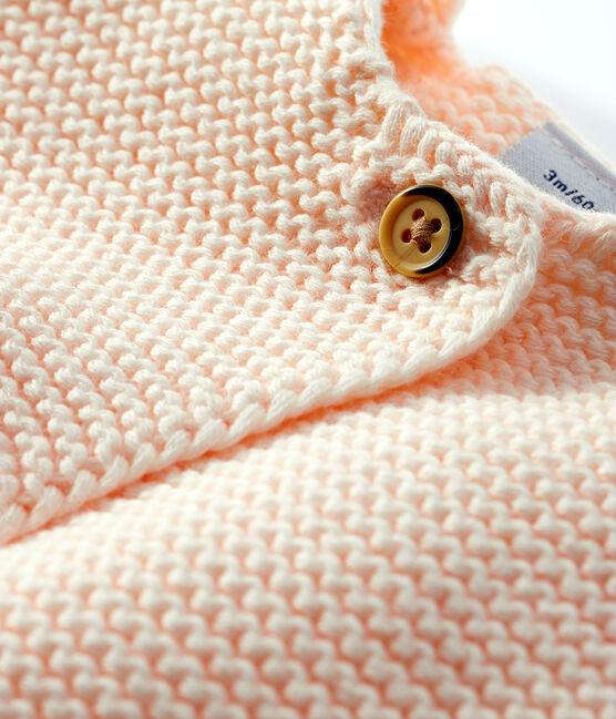 Cardigan bebè in tricot di cotone biologico rosa Fleur