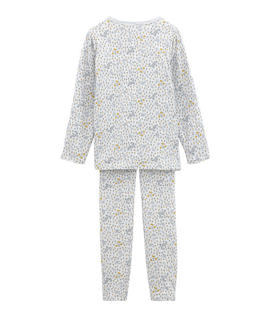 Pigiama bambina in tubique grigio Poussiere / bianco Multico