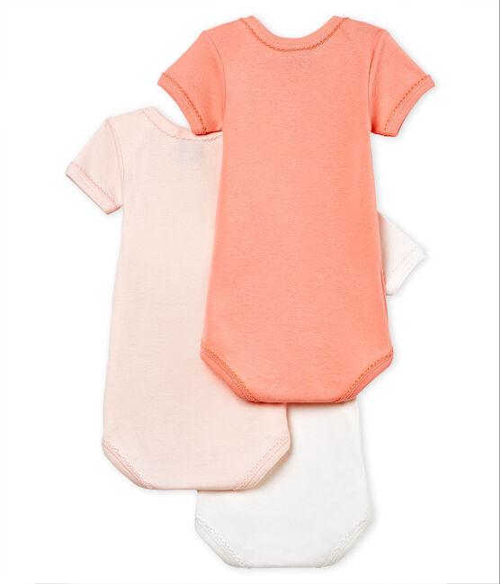 Trio body manica corta bebè bambina in cotone e lino lotto .