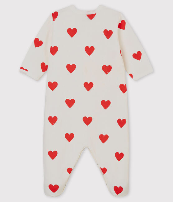 Tutina a cuori rossi bebé femmina a costine bianco Marshmallow / rosso Terkuit